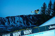 Torin Yater-Wallace during Ski Superpipe Practice at 2014 X Games Aspen at Buttermilk Mountain in Aspen, CO. ©Brett Wilhelm/ESPN