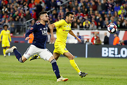 May 15, 2019 - Foxborough, MA, U.S. - FOXBOROUGH, MA - MAY 15: New England Revolution defender Gabriel Somi (91) and Chelsea FC forward Pedro (11) chase the ball during the Final Whistle on Hate match between the New England Revolution and Chelsea Football Club on May 15, 2019, at Gillette Stadium in Foxborough, Massachusetts. (Photo by Fred Kfoury III/Icon Sportswire) (Credit Image: © Fred Kfoury Iii/Icon SMI via ZUMA Press)