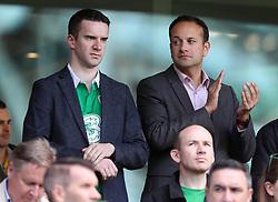 Leader of Fine Gael Leo Varadkar (right) and partner Matt Barrett (left) in the stands during the 2018 FIFA World Cup Qualifying, Group D match at the Aviva Stadium, Dublin.