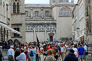 Street scene of Dubrovnik old town, street crowded with tourists. Dubrovnik, Croatia