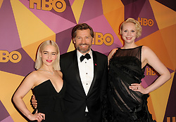 Emilia Clarke, Nikolaj Coster Waldau and Gwendoline Christie at the HBO's 2018 Official Golden Globe Awards After Party held at the Circa 55 Restaurant in Beverly Hills, USA on January 7, 2018. (Photo by Lumeimages/Sipa USA)