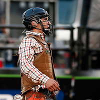 CHEYENNE, WY - JULY 26: Jesse Petri celebrates following his ride of bull Why Hell Ya during the Professional Bull Riders Last Cowboy Standing on July 26, 2021, at the Cheyenne Frontier Days, Cheyenne, WY. (Photo by Chris Elise)