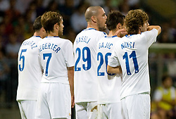 Players of Zurich at Third Round of Champions League qualifications football match between NK Maribor and FC Zurich,  on August 05, 2009, in Ljudski vrt , Maribor, Slovenia. Zurich won 3:0 and qualified to next Round. (Photo by Vid Ponikvar / Sportida)