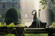 Usa,Newport, RI - A water fountain at the entrance to private Newport mansion Miramar.