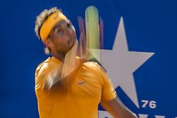 April 27, 2018 - Barcelona, Catalonia, Spain - RAFAEL NADAL (ESP) serves against Martin Klizan (SVK) in their quarter final of the 'Barcelona Open Banc Sabadell' 2018. Nadal won 6:0, 7:5 (Credit Image: © Matthias Oesterle via ZUMA Wire)