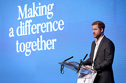 Prince Harry delivers a speech during the first Royal Foundation Forum in central London.