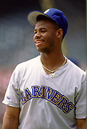 CLEVELAND - 1990:  Ken Griffey Jr. of the Seattle Mariners looks on during an MLB game against the Cleveland Indians at Municipal Stadium in Cleveland, Ohio during the 1990 season. (Photo by Ron Vesely)  Subject:  Ken Griffey Jr.
