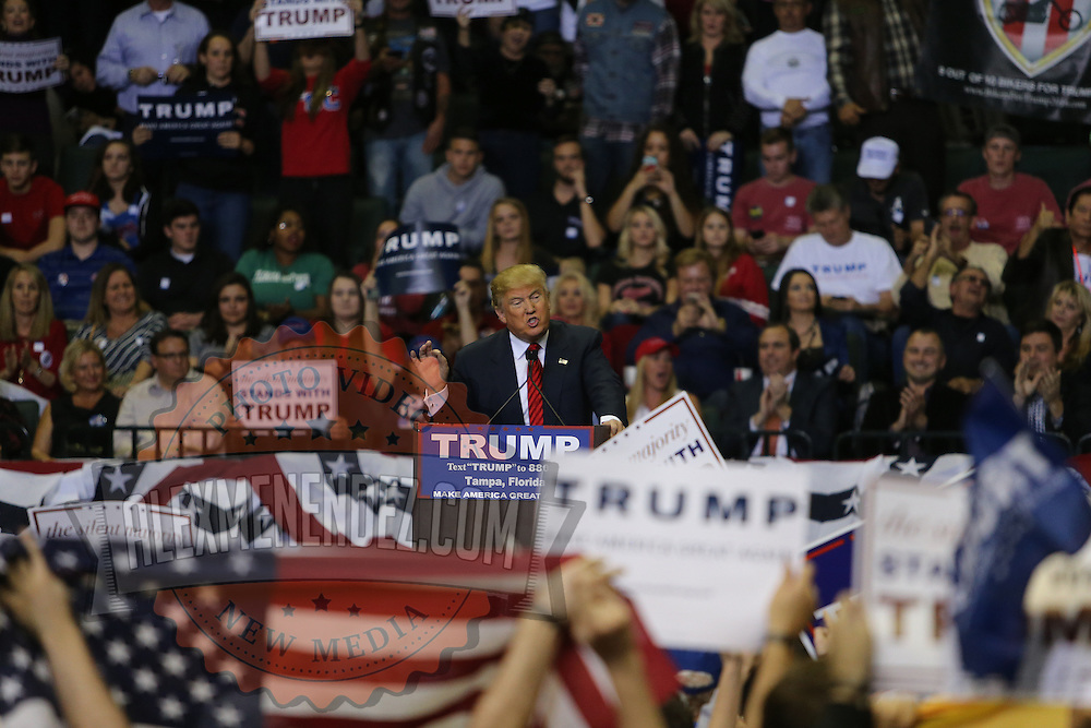 Republican presidential candidate Donald Trump speaks at a rally at the USF Sundome in Tampa, Florida on Friday, February 12 2015.  Photo: Alex Menendez