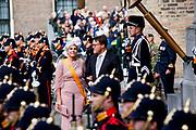 Koning Willem-Alexander en koningin Maxima tijdens Prinsjesdag. De koning zal hier de troonrede voorlezen aan leden van de Eerste en Tweede Kamer.<br /> <br /> King Willem-Alexander and Queen Maxima during Prinsjesdag. The king will read the speech to the members of the First and Second Chamber here.