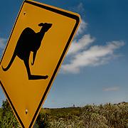 Famous Kangaroo sign on a blue sky. Kangaroo Island.
