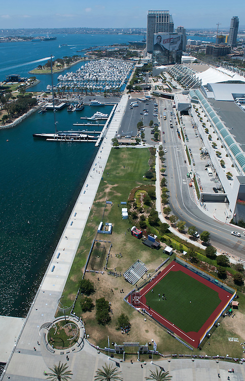 The Play Ball baseball diamond awaits a game on the waterfront behind the San Diego Convention Center during the 2016 MLB All-Star FanFest on Friday.<br /> <br /> ///ADDITIONAL INFO:   <br /> <br /> Fanfest.0709.kjs  ---  Photo by KEVIN SULLIVAN / Orange County Register  -- 7/8/16<br /> <br /> The 2016 MLB All-Star game Fan Fest at Petco Park and the San Diego Convention Center.