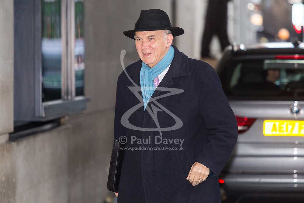 London - Liberal Democrats Leader Sir Vince Cable arrives at the BBC's Broadcasting House in London to appear on the Andrew Marr Show. February 04 2018.