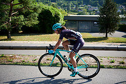 Hannah Payton (GBR) chases back from a crash at La Course by Le Tour de France 2018, a 112.5 km road race from Annecy to Le Grand Bornand, France on July 17, 2018. Photo by Sean Robinson/velofocus.com