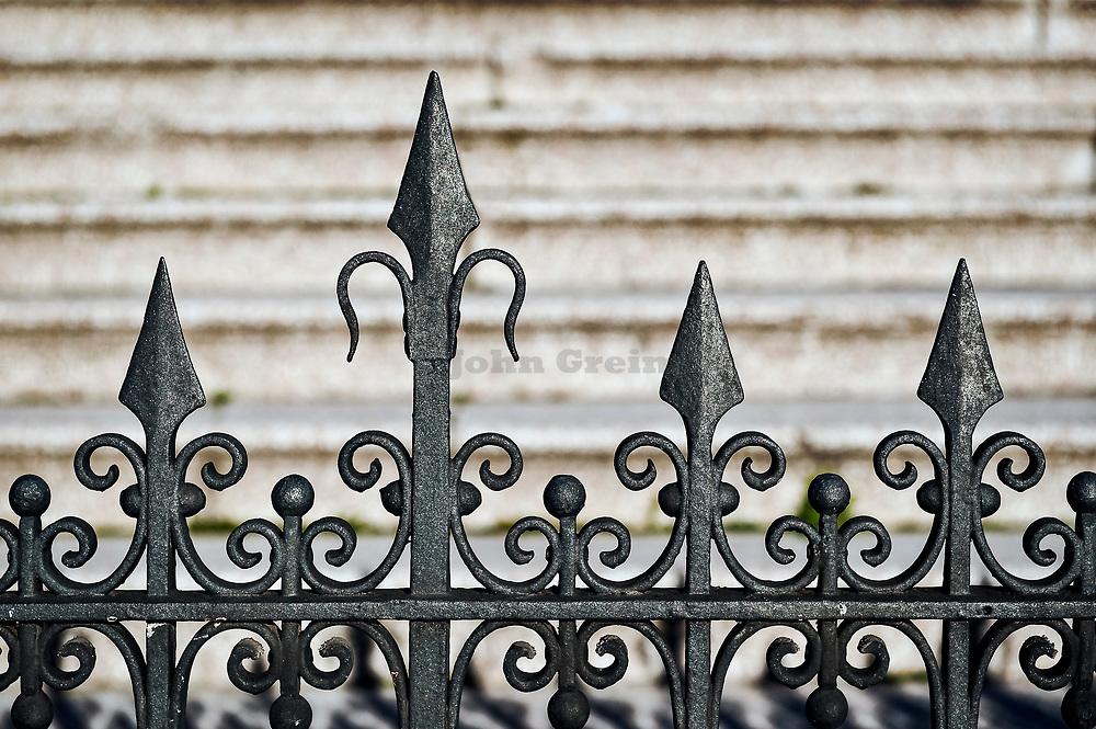 Ornate iron gate detail.