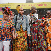 London residents participate in the Africa on the Square event, which pays celebrates African arts and culture, on October 14, 2017 on Trafalgar Square in London. The event featured live performances and traditional food and drinks.