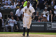 CHICAGO - JULY 27:  Juan Pierre #1 of the Chicago White Sox walks back to the dugout after being tagged out at the plate against the Detroit Tigers on July 27, 2011 at U.S. Cellular Field in Chicago, Illinois.  The White Sox defeated the Tigers 2-1.  (Photo by Ron Vesely)  Subject: Juan Pierre
