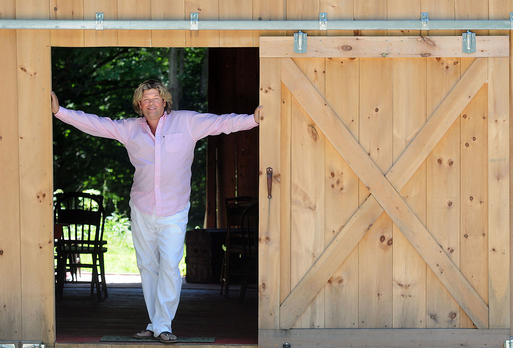 Opera singer Marc Deaton in his Madison barn where he will hold summer entertainment, including an evening of Stephen Sondheim songs with seven NYC singers. Mara Lavitt/New Haven Register<br /> <br /> 7/10/12