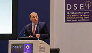 London, United Kingdom - 11 September 2019<br /> The Rt Hon Ben Wallace MP. Secretary of State for Defence for the UK Government presents keynote address speech to audience at DSEI 2019 security, defence and arms fair at ExCeL London exhibition centre.<br /> (photo by: HAUSARTS / EQUINOXFEATURES.COM)<br /> Picture Data:<br /> Photographer: Hausarts<br /> Copyright: ©2019 Equinox Licensing Ltd. +443700 780000<br /> Contact: Equinox Features<br /> Date Taken: 20190911<br /> Time Taken: 12350724<br /> www.newspics.com