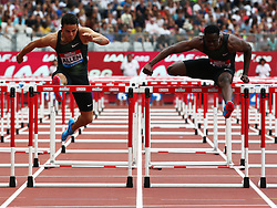July 22, 2018 - London, United Kingdom - L-R Devon Allen of USA and Ronald Levy of Jamaica compete in the 110m Hurdles Men race.during the Muller Anniversary Games IAAF Diamond League Day Two at The London Stadium on July 22, 2018 in London, England. (Credit Image: © Action Foto Sport/NurPhoto via ZUMA Press)