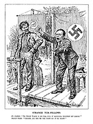 """Strange Tub-Fellows. Dr. Goebbels. """"The British Empire is one long story of oppression, bloodshed and tyranny!"""" Marxist Orator. """"Comrade, you take the very words out of my mouth!"""" (A Communist and Nazi political rally)"""