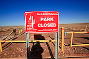 25 FEBRUARY 2010 -- WINSLOW, AZ: The entrance to Homolovi Ruins State Park north of Winslow. The park closed on Feb 22. The park's employees will spend the next few days packing up the park's exhibits but worry that the park's vulnerable archeological sites will be plundered by vandals and relic hunters when the park is vacant.     PHOTO BY JACK KURTZ