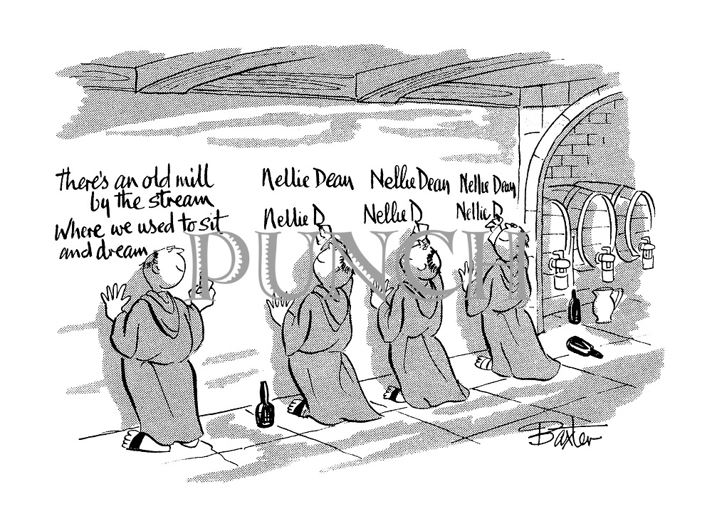 (A group of monks who have taken the vow of silence and have been sampling the monastery wine write the words of the song 'Nellie Dean' on the wall instead of singing it.)