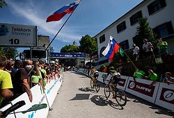 Anze SKOK of LJUBLJANA GUSTO SANTIC and Patrik TYBOR of DUKLA BANSKA BYSTRICA at Finish line at Sveta Gora during the 4th Stage of 27th Tour of Slovenia 2021 cycling race between Ajdovscina and Nova Gorica (164,1 km), on June 12, 2021 in Slovenia. Photo by Vid Ponikvar / Sportida