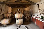 Chateau de Montpezat. Pezenas region. Languedoc. Barrel cellar. France. Europe. The winery laboratory.