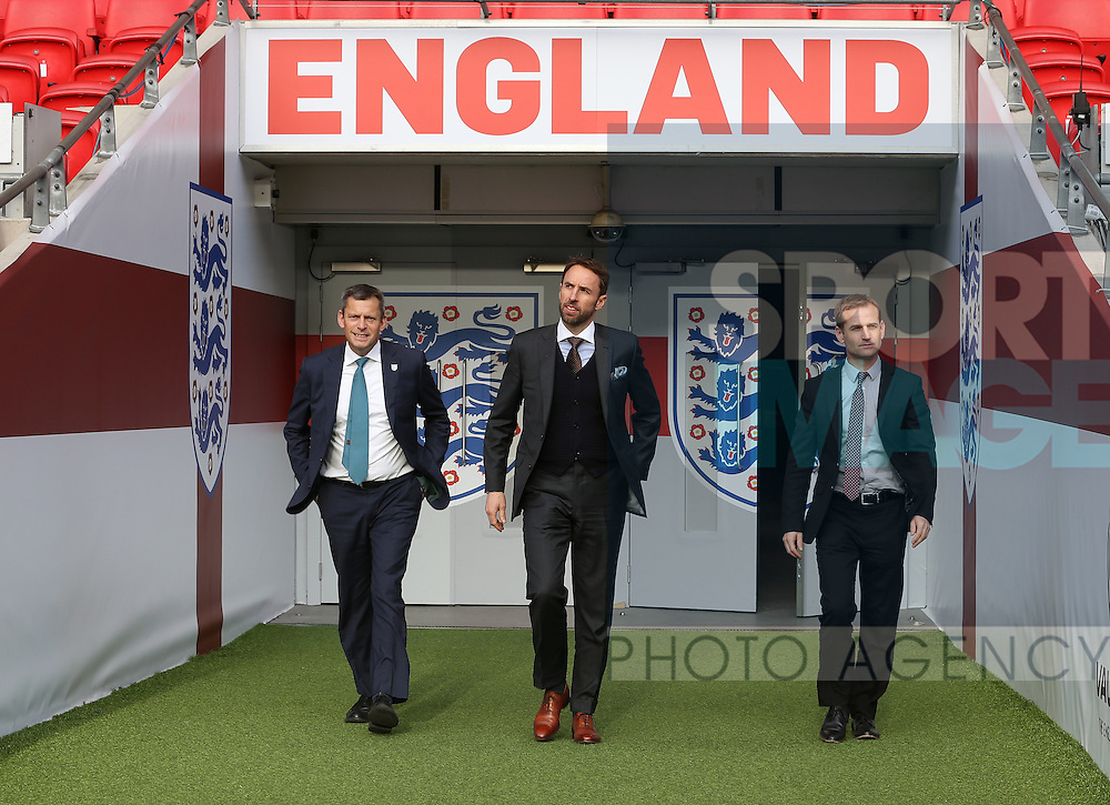 England Martin Glenn, Gareth Southgate and Dan Ashworth during the press conference at Wembley Stadium, London. Picture date December 1st, 2016 Pic David Klein/Sportimage