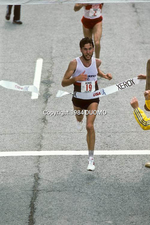 Peter Pfizinger, winning the 1984 US Olympic Team Marathon Trials.