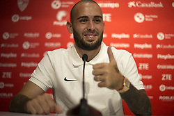 August 6, 2018 - Sevilla, Sevilla, Spain - Aleix Vidal presented as a new player for Sevilla..Aleix Vidal has returned to put on the shirt of Sevilla in his presentation as a new footballer of the Seville team. The Catalan wanted to return for a long time to what was his house in the season 14/15. (Credit Image: © Antonio Pozo/Pacific Press via ZUMA Wire)