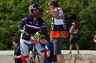#50 (POTTIER Magalie) FRA at the 2014 UCI BMX Supercross World Cup in Berlin, Germany.