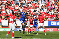 David Davis of Birmingham City and Josh Cullen of Charlton Athletic challenge for a header - Mandatory by-line: Arron Gent/JMP - 14/09/2019 - FOOTBALL - The Valley - Charlton, London, England - Charlton Athletic v Birmingham City - Sky Bet Championship