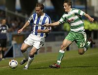 Photo: Aidan Ellis.<br /> Huddersfield Town v Yeovil Town. Coca Cola League 1. 29/04/2006.<br /> Huddersfield's David Mirfin is chased by Yeovil's Adam Lockwood