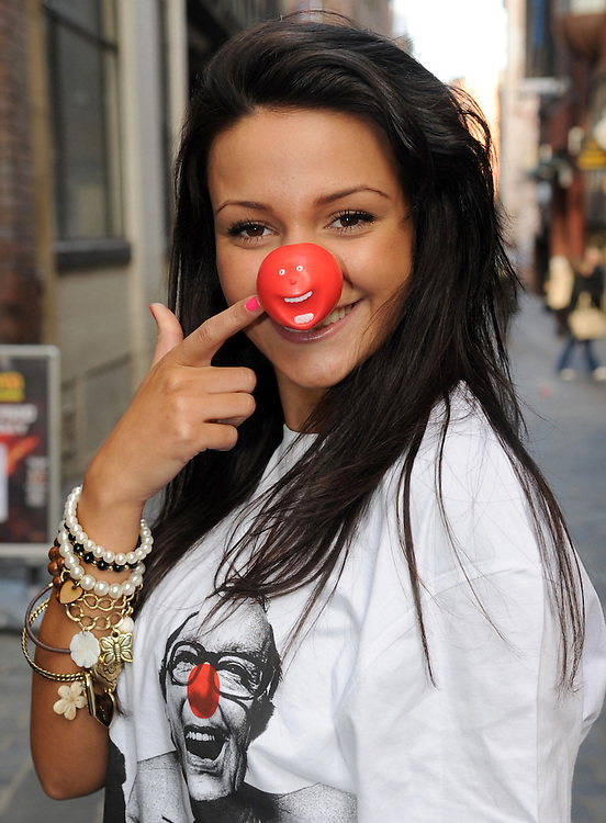 Corri Star Michelle Keegan Joins John Lennon on liverpools Famouse Mathew Street to lanch Red Nose Day Runway Fashion Show ,Part of Liverpool Fashion Week <br /> Pix D Nelson