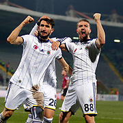 Fenerbahce's Mehmet Topal (L) celebrate his goal with Caner Erkin (R) during their Turkish Super League soccer match Genclerbirligi between Fenerbahce at the 19 Mayis stadium in Ankara Turkey on Sunday, 15 March 2015. Photo by Aykut AKICI/TURKPIX