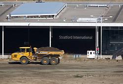 Stratford International station. Truck moving soil. Picture by David Poultney.
