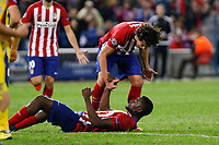 Atletico de Madrid´s Tiago Cardoso celebrates Jackson Martinez´s goal during Champions League soccer match between Atletico de Madrid and FC Astana at Vicente Calderon stadium in Madrid, Spain. October 21, 2015. (ALTERPHOTOS/Victor Blanco)
