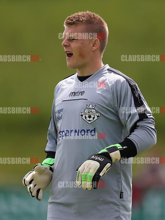 FODBOLD: Den indskiftede målmand Andreas Jensen (FC Helsingør, #1) under kampen i 2. Division Øst mellem Avarta og FC Helsingør den 29. maj 2014 i Espelunden. Foto: Claus Birch