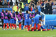SAINT-DENIS, FRANCE, 10.06.2016 - FRANCE-ROMANIA - Players of France celebrates goal from Olivier Giroud on Romania, in a match valid for the 1st round of Group A of Euro 2016 in the Stade de France in Saint-Denis, this Friday (10)