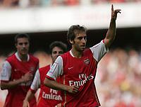 Photo: Lee Earle.<br /> Arsenal v Paris Saint-Germain. The Emirates Cup. 28/07/2007.Arsenal's Mathieu Flamini (R) celebrates after scoring their opening goal.