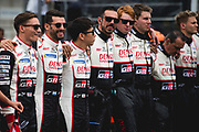 Mike Conway, Kamui Kobayashi, Jose Maria Lopez<br /> TOYOTA GAZOO  Racing. <br /> Le Mans 24 Hours Race, 11th to 17th June 2018<br /> Circuit de la Sarthe, Le Mans, France.