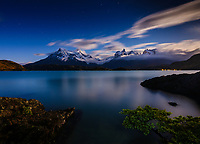 NATIONAL PARK TORRES DEL PAINE, CHILE - CIRCA FEBRUARY 2019: Night over Lake Pehoe in Torres del Paine National Park, Chile.