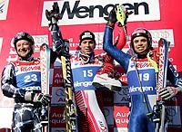 Alpint<br /> FIS World Cup Verdenscup 2005/2006<br /> Wengen<br /> Superkombinasjon<br /> 16.01.2006<br /> Foto: Gepa/Digitalsport<br /> NORWAY ONLY<br /> <br /> Kjetil Andre Aamodt (NOR, Benjamin Raich (AUT) und Peter Fill (ITA)
