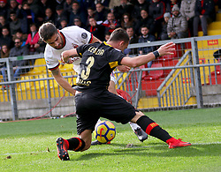December 3, 2017 - Benevento, Campania/Napoli, Italy - Benevento, Italy. December 3, 2017: The Benevento player Gaetano letizia removes the ball from Milan's Fernandez Suso. The Benevento after 14 losses manages to equalize and make the first point in Serie A (Credit Image: © Fabio Sasso/Pacific Press via ZUMA Wire)