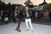 JENNY BASTET; MARC QUINN Serpentine's Summer party co-hosted with Christopher Kane. 15th Serpentine Pavilion designed by Spanish architects Selgascano. Kensington Gardens. London. 2 July 2015.