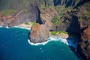 Honopu Beach, Napali Coast, Kauai, aerial
