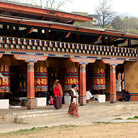 Asia, Bhutan, Thimpu. Prayer Wheels at the Memorial Chorten