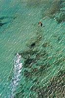 Aerial View, Kite surfers in the Pacific Ocean off Noumea, Grand Terre, New Caledonia