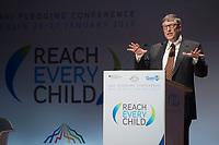 """27 JAN 2015, BERLIN/GERMANY:<br /> Bill Gates (William Henry Gates III),  Mitgruender und  Chairman of the Board der Microsoft Corporation und Mitgruender der  Bill & Melinda Gates Foundation, haelt eine Rede waehrend der Gavi Pledging Conference """"Reach Every Child"""", Berlin Congress Center<br /> IMAGE: 20150127-01-066<br /> KEYWORDS: Gavi Impfallianz"""